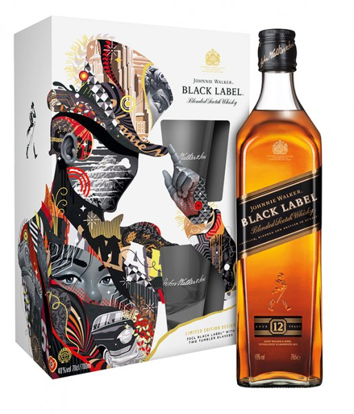 Johnnie Walker Black Label 12 Jahre Blended Scotch Whisky 40% Giftset