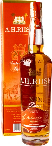 A.H. Riise XO Reserve Ambre D´Or Rum 42 Prozent in oranger Geschenkverpackung