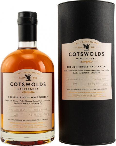 Cotswolds PX Single Cask 2015/2019 Whisky 59,70% 0,7L