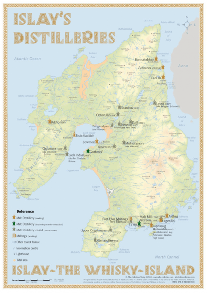 Alba Collection - Islay´s Whisky Distilleries - Tasting Map 24x34cm