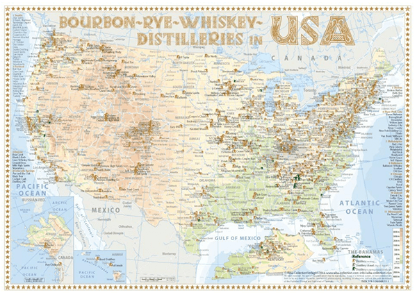 Alba Collection - USA Whiskey Distilleries - Tasting Map 34x24cm