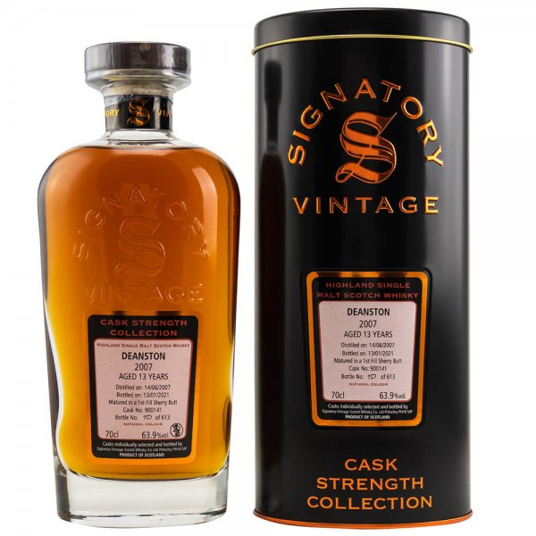 Deanston 13 Jahre 2007/2021 Cask Strength Collection #900141 Whisky 63,9% 0,7L (Signatory)