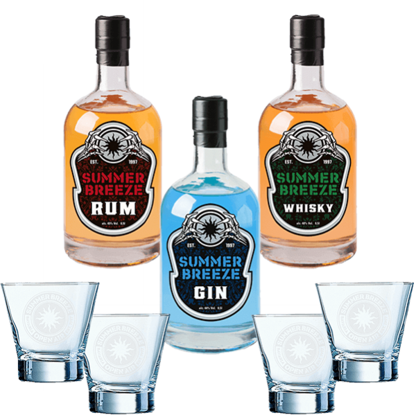Summer Breeze Rum Gin Whisky Bundle mit 4 Gläsern